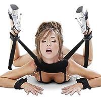 CKSOHOT® SM Bondage Set BDSM Fesselset SM Sexspielzeug Extrem Betten Fesseln mit Handschellen mit Augenmaske für Paare Gays, für Einsteiger und Erfahr (Schwarz)