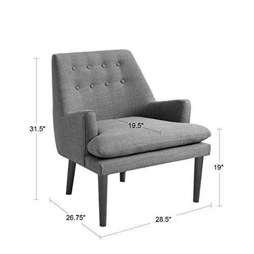 Mid-Century Taylor Birch Legs with Espresso Finish Accent Chair,100% Polyester (Grey)