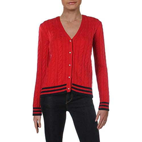 LAUREN RALPH LAUREN Womens Kammia Wool Blend Cable Knit Cardigan Sweater Red M