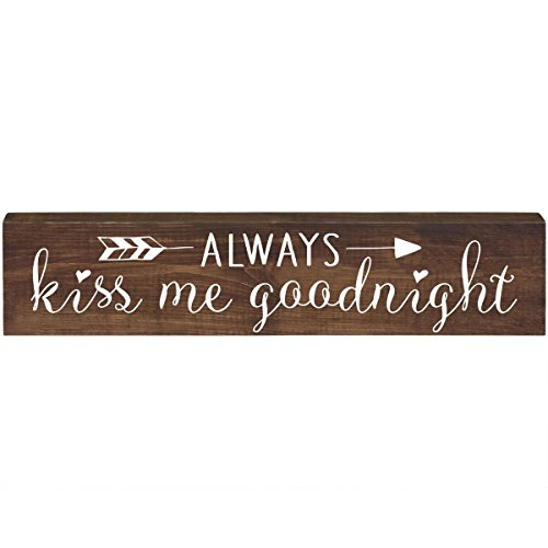 LifeSong Milestones Always Kiss me Goodnight Inspirational Pine Block Inspirational Quotes for Women and Men Gift ideas for Husband, Wife, Family, and Best Friends 2