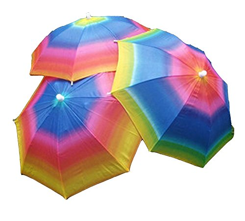 "Epic Easy Halloween Costumes (A.tenth Umbrella Hat, Large 20"" Multicolored with Head Strap, Hands Free Protection from Sun and Rain- Great Party Costume (Rainbow))"