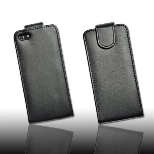 Handy Tasche Case Fliptasche Kunstledertasche in schwarz für Apple iPhone 5