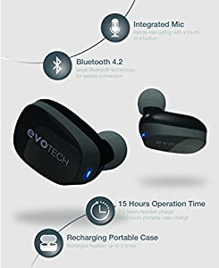 True Wireless Earbuds EVOTech Opus Headphones, Dolby Surround Pro Logic 3D Sound, Noise Isolating, Bluetooth V4.2 Headset, Easy Pairing Earphones With Charging Box And Built-in Mic for iPhone, Samsung by EVOTech Labs