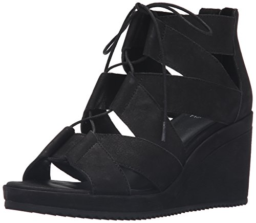 Eileen Fisher Women's Dibs-NU Wedge Sandal, Black, 8.5 M US