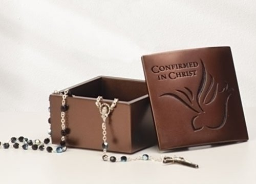 - Confirmed in Christ Confirmation Dove Bronze Resin Stone Jewelry Rosary Keepsake Box