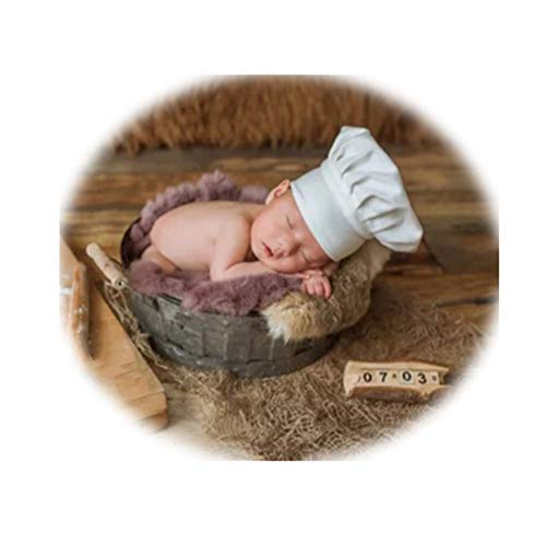 Coberllus Newborn Monthly Baby Photo Props Chef Hat Headdress For Boys Girls Photography Shoot]()