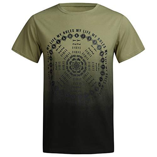 Outique Men's Beach Shirts Summer Letter Print Slim Fit Round-Neck Short Sleeve Top Shirt Blouse Hawaiian Shirt Green ()