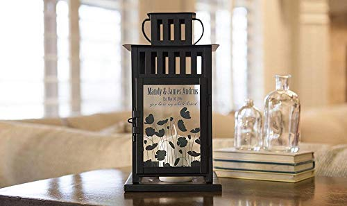 Qualtry Personalized Decorative Indoor Lantern Candle Holder 6x6x11- Wedding Centerpieces Decoration, Unique Wedding Gifts for Couples (Andrus Design)