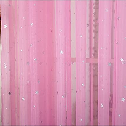 Amazon.com: ZWB Children Bedroom Sheer Curtains Star Pattren ...