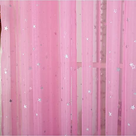 ZWB Children Bedroom Sheer Curtains Star Pattren Lovely Pink Voile Kids For