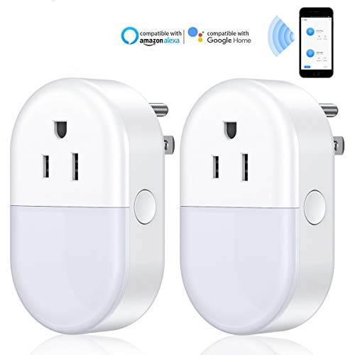 POWERADD Smart WiFi Plug Socket Alexa Outlet Plug Smart WiFi Outlet with Night Light Works with Alexa Echo Google Assistant, Voice Control Remote Control Timer Function IFTTT No Hub Required - 2 Pack