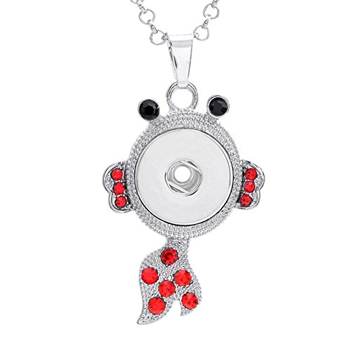 (ZARABE 18MM Snap Button Fish Shape with Rhinestone Charm Pendant)