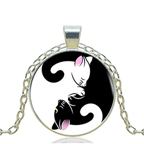 Black Cat Pendant Necklace YIN Yang Cat Necklace for Women Silver Chain Vintage Choker Statement Necklace Jewelry