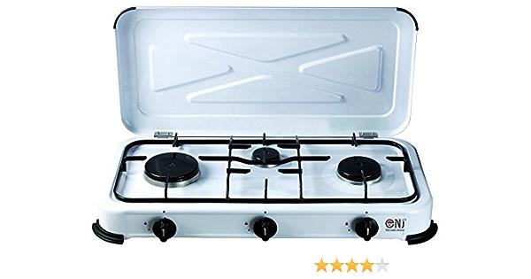 NEW NJ3 - Cocina de gas propano portátil con tapa para exterior (3 fuegos, 3,4 kW)