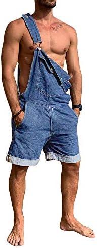 PASLTER Mens Denim Bib Overalls Shorts Lightweight Casual Loose Fit Jean Romper Cargo DungareePockets
