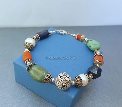 Unique Beaded Multi Gemstone Bracelet, Green Turquoise, Blue Lapis Lazuli, White Freshwater Pearl, Mediterranean Coral *Exp Shipping