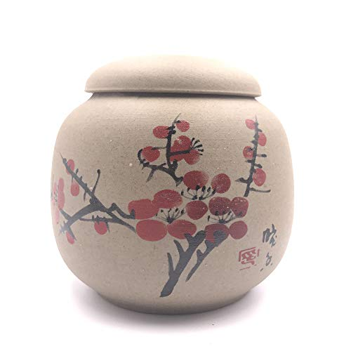 Craft Ceramic Kitchen - feize Kitchen Canisters Ceramic Clay Tea Caddy Mini Tea Storage Chests (Plum Blossom)