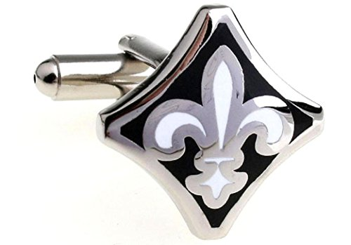 (MRCUFF Fleur De Lis Black White Pair Cufflinks in a Presentation Gift Box & Polishing Cloth)