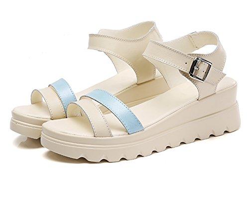 JIANGU fangos con 3 sandalias con plano tacón sandalias zapatos XL sandalias de de fondo Nuevas plataforma y Student verano r1WrRZ