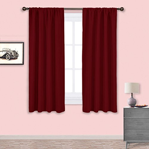 NICETOWN Burgundy Blackout Curtains and Drapes - Thermal Insulated Solid Rod Pocket Blackout Draperies/Panels for Living Room (One Pair,42 by 63-Inch,Burgundy - Kitchen Burgundy