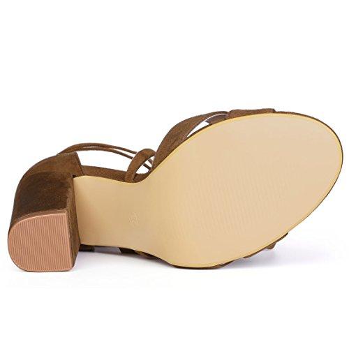 Allegra K Women's Block Heeled Lace up Sandals Brown hEW6Ay