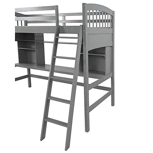 Harper/&Bright Designs Metal Twin Over Twin Bunk Beds with Angled Ladder Twin Bunk Beds for Kids No Box Spring Required Angled Ladder Black