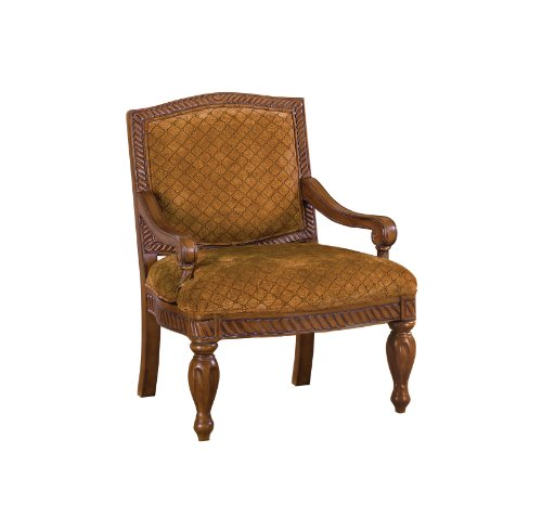 Furniture of America Noella Padded Fabric and Hand-Carved Frame Arm Chair, Antique Oak Finish