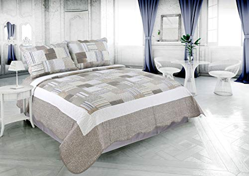 Beauty Sleep Bedding Rich Printed 3 Piece Reversible Quilt Set, Taupe Stripes Plaid Pattern, Queen Size