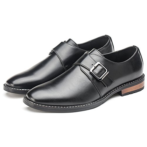 Dress On Black Shoes Synthetic Strap Oxfords Formal Slip Mens Monk Golaiman Leather xAOIIS