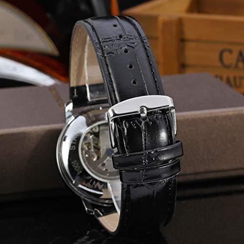GSERA Armbandsur herr ihåligt vardaglig justerbar läderrem automatisk mekanisk klocka