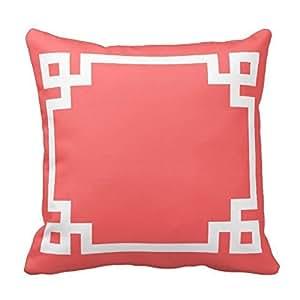 Coral Greek Key Pillow Decorative 18 X 18inch ?šº?¡ìTwin Sides?šº? Cushion Cover