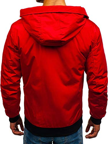 Ribbed Mix rz03 Casual Transitional Red BOLF Jacket 4D4 Bomber Sport Men's Zip qwW8IxTf