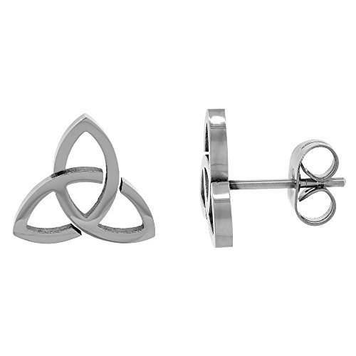 Small Stainless Steel Celtic Trinity Stud Earrings Triquetra 3/8 inch 10 - Celtic Trinity Ring