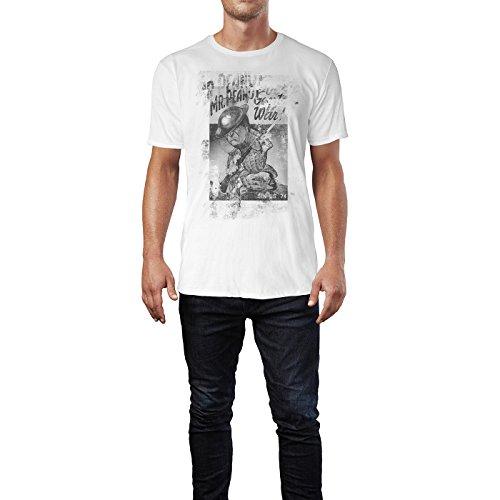 SINUS ART® Mr. Peanut Herren T-Shirts stilvolles weißes Fun Shirt mit tollen Aufdruck