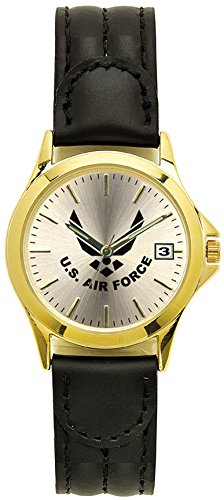 Aqua Force Air Force Gold Brass Watch with 38mm Face and Padded Leather Strap