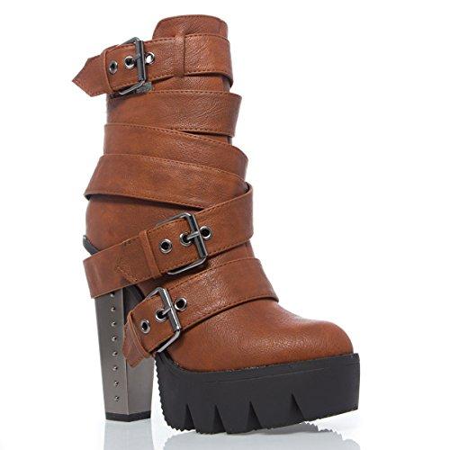 V-Luxury Womens 12-VANITA01 Closed Toe High Heel Platform Ankle Bootie Shoes, Tan PU Leather, 7 B (M) US