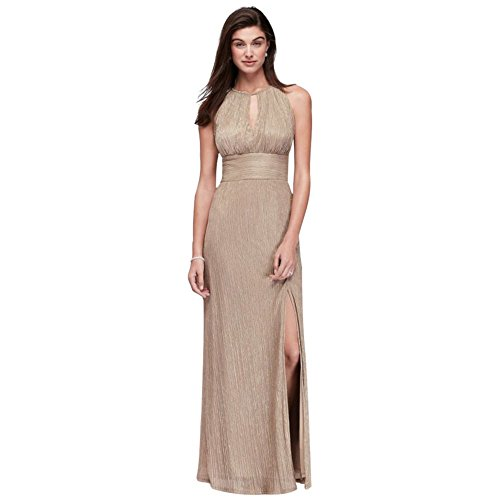 Metallic Keyhole Halter A-Line Mother of Bride/Groom Dress Style 9283, Gold, 16 ()