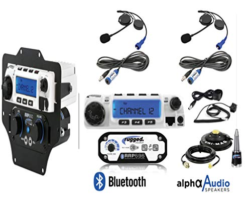 2-Place (person to person) Intercom with 60 Watt Bluetooth Radio (utv to utv) RRP696 with in dash mounting and Alpha Audio Helmet Kit for Honda Talon 1000R 1000X