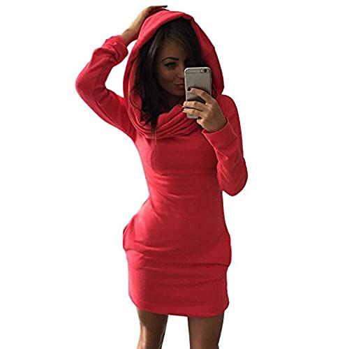 Minetom Mujer Sudadera con Capucha Bodycon del Suéter Jersey Pulóver Camisa Larga Mini Vestidos Rojo ES 40