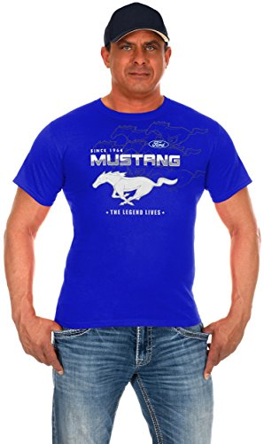 Sleek Sports Tee - JH Design Men's Ford Mustang T-Shirt Royal Short Sleeve Crew Neck Shirt (3X, CLG0-Royal Blue)