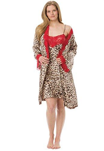 Amoureuse Women's Plus Size Short Satin Peignoir Set Leopard,4X