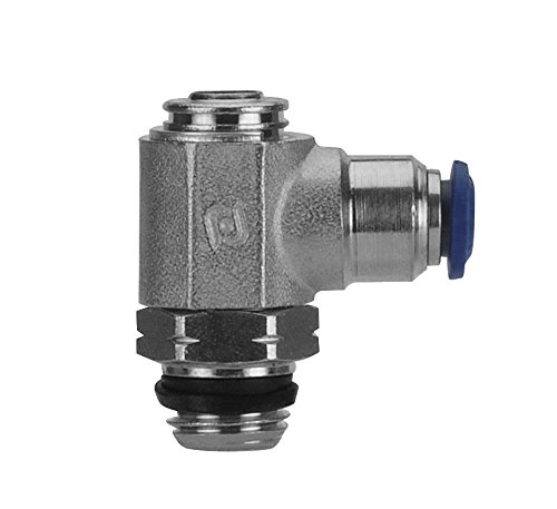 AIGNEP USA 88953-06-06 Flow Control, Screw Adjustment, Flow Out, 3/8'' Tube x 3/8'' Swift-Fit Universal Thread (Nickel Plated Brass)