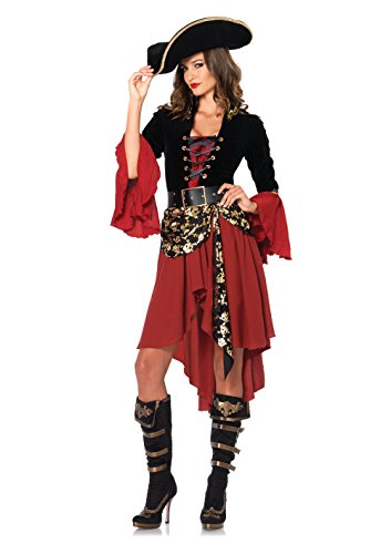 Women's 2 Piece Cruel Seas Captain Pirate Costume, Black/Burgundy