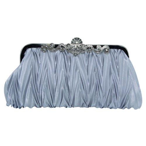 Your Gallery Ruffle Pleated Wedding Bridal Evening Clutch Bag Purse Handbag (Pleated Silk Clutch)
