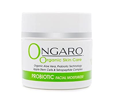 Ongaro Organic Facial Moisturizer with Probiotic Technology, Organic Aloe Vera, Apple Stem Cells, and Peptides; Best Day and Night Cream for Anti-Aging, Anti-Wrinkle & Uneven Skin Tone; 2oz