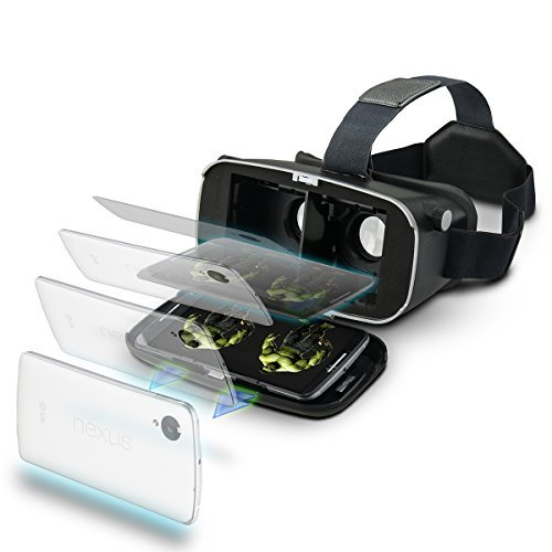 New HOT Seller VR Mask Virtual Reality Viewer for Mobile Phones Glasses Support iPhone Samsung and Other 3.5-6 Inch Smart Phones(Black)