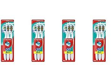 Colgate 360 - Cepillo de dientes medium 3 piezas - Juego de 4: Amazon.es: Salud y cuidado personal