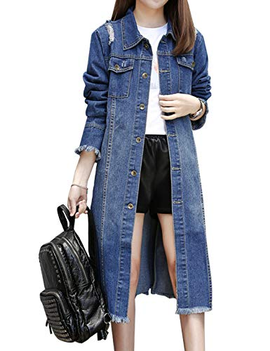 ipped Distressed Boyfriend Jean Denim Jacket Overcoat (Small, Blue) ()