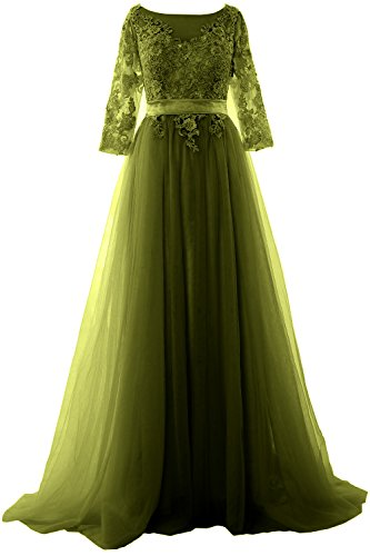 MACloth Women Half Sleeve Lace Tulle Maxi Prom Dress Evening Formal Gown Verde Oliva