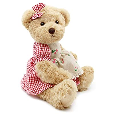 Oitscute 2-Pack Teddy Bear,Cute Stuffed Animal,Couple Gift Soft Plush Toy 11inch (Red Plaid Clothes): Toys & Games